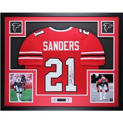 Deion Sanders Signed Falcons 35x43 Custom Framed Jersey (JSA COA)