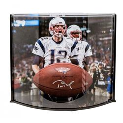 Tom Brady Signed LE Super Bowl 51 Logo Football with Curve Display Case (Steiner  TriStar)