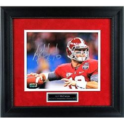 AJ McCarron Signed Alabama Crimson 15x17 Custom Framed Photo Display (Radtke COA)