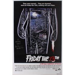 """Ari Lehman Signed """"Friday the 13th"""" 24x36 Move Poster Inscribed """"I Never Die""""  """"Jason 1"""" (PA COA)"""