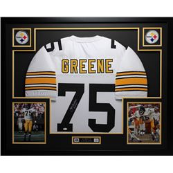 "Joe Greene Signed Steelers 35"" x 43"" Custom Framed Jersey Inscribed ""HOF 87"" (JSA COA)"
