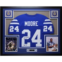 "Lenny Moore Signed Colts 35x43 Custom Framed Jersey Inscribed ""HOF 75"" (JSA COA)"