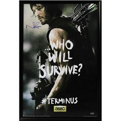 """Norman Reedus Signed """"The Walking Dead: Who Will Survive?"""" 29x42 Custom Framed Poster Display (Radtk"""