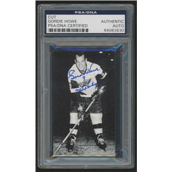 Gordie Howe Signed 2x3.5 Cut (PSA Encapsulated)