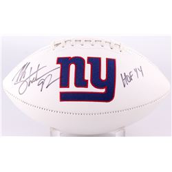 "Michael Strahan Signed Giants Logo White Panel Football Inscribed ""HOF 14"" (JSA COA)"