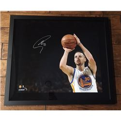 """Stephen Curry Signed Warriors """"3 Point Shot"""" 20x24 Custom Framed Limited Edition Photo (Steiner COA)"""