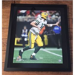 "Aaron Rodgers Signed Packers 24x28 Custom Framed Limited Edition Photo Inscribed ""Fastest to 300 TD'"