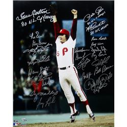 1980 Phillies 16x20 Photo Signed by (24) with Steve Carlton, Mike Schmidt, Pete Rose, Bake McBride (