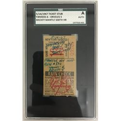 Mickey Mantle Yankees 1967 500th Home Run Ticket (SGC Authentic)