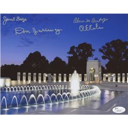 """World War II Memorial"" 8x10 Photo Signed by (4) with James Baize, Abner Aust, Don Jakeway,  Richard"