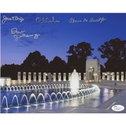 WWII Memorial Night 8x10 Photo Singed by (4) With James Baize, Abner Aust, Don Jakaway  Richard E. C