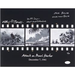 Attack on Pearl Harbor LE 11x14 Photo Signed by (4) with William Bonelli, Milton Mapoo, Dick Schimme
