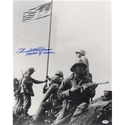 """Hershel W. Williams Signed """"Raising The Flag On Iwo Jima"""" 16x20 Photo Inscribed """"Medal of Honor"""" (PS"""