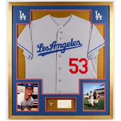 Don Drysdale Signed Dodgers 34x38 Custom Framed Cut Display with Championship Ring (PSA COA)