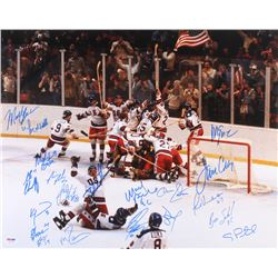"1980 Team USA ""Miracle On Ice"" 16x20 Photo Signed by (20) with Mike Eruzione, Jim Craig, Neal Broten"