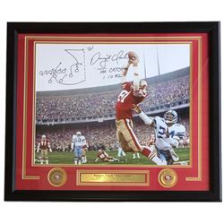 Dwight Clark Signed 49ers 22x27 Custom Framed Photo Display with Hand-Drawn Play  (2) Inscriptions (