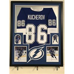 Nikita Kucherov Signed Lightning 34x42 Custom Framed Jersey (JSA COA)