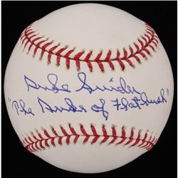 "Duke Snider Signed Dodgers OML Baseball Inscribed ""Duke of the Flatbush"" (Steiner COA)"