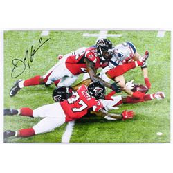 Julian Edelman Signed Patriots 20x30 Custom Framed Photo on Canvas (JSA COA)