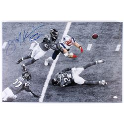 "Julian Edelman Signed Patriots 20x30 Custom Framed Photo on Canvas Inscribed ""SB Champ""  ""The Catch"""
