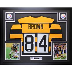 Antonio Brown Signed 35x43 Custom Framed Throwback Bumblebee Steelers Jersey (JSA COA)