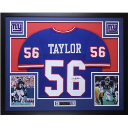 Lawrence Taylor Signed Giants 35x43 Custom Framed Jersey Display (JSA COA)