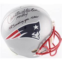 "Curtis Martin Signed Patriots Full-Size Helmet Inscribed ""1995 ROY"", ""1485 Rushing Yds""  ""15 TD's"" ("