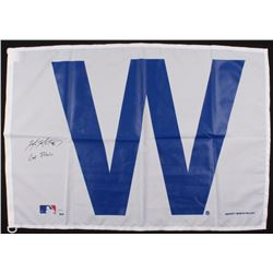 """Mike Montgomery Signed 28x41 Chicago Cubs """"W"""" Flag Inscribed """"Last Pitch"""" (Schwartz COA)"""