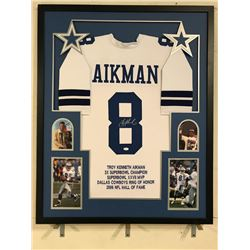 Troy Aikman Signed Cowboys 34x42 Custom Framed Career Highlight Stat Jersey (JSA COA)