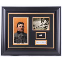 Honus Wagner 19.5x23.5 Custom Framed Cut Display with (1) Hand-Written Word from Letter (PSA LOA Cop