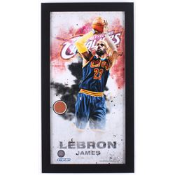 LeBron James Cavaliers 12x22 Custom Framed Display with Authentic Team-Used Basketball Cut (Steiner