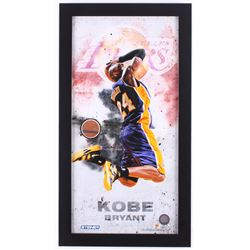 Kobe Bryant Lakers 12x22 Custom Framed Display with Authentic Team-Used Basketball Cut (Steiner COA)