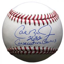"Cal Ripken Jr. Signed OML Baseball Inscribed ""2632 Consecutive Games"" (JSA COA)"