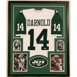 Sam Darnold Signed Jets 34x42 Custom Framed Jersey Display (JSA COA)