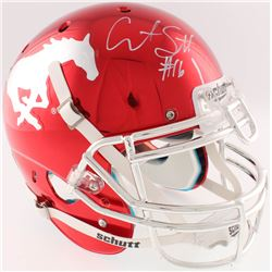Courtland Sutton Signed SMU Mustangs Custom Red Chrome Full-Size Authentic On-Field Helmet (Radtke C
