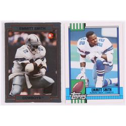 Lot of (2) Emmitt Smith Football Cards with 1990 Action Packed Rookie Update #34 RC, 1990 Topps Trad