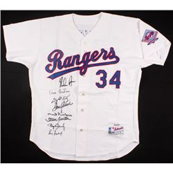 Hall of Famers LE Rangers Ryan Jersey Signed by (8) with Nolan Ryan, Roger Clemens, Don Sutton, Gayl