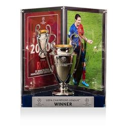 "Lionel ""Leo"" Messi Signed Barcelona 2009 UEFA Replica Trophy Display (Icons COA)"