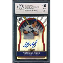 2011 Finest Rookie Autographs Refractors #97 Anthony Rizzo (BCCG 10)