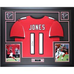Julio Jones Signed Falcons 35x43 Custom Framed Jersey (JSA COA)