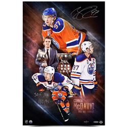 """Connor McDavid Signed LE """"2017 NHL Awards"""" Oilers 16x24 Photo Inscribed """"30 G"""", """"70 H""""  """"100 pts"""" (U"""