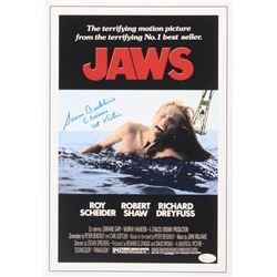 """Susan Backlinie Signed """"Jaws"""" 11x17 Movie Poster Inscribed """"Chrissie"""" and """"1st Victim"""" (JSA COA)"""