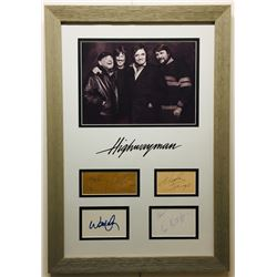 The Highwaymen 17x24.5 Custom Framed Signature Cut Display Signed by (4) with Johnny Cash, Waylon Je
