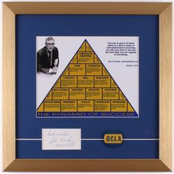 """John Wooden Signed """"The Pyramid of Success"""" 16x16 Custom Framed Cut Display with Button Inscribed """"B"""