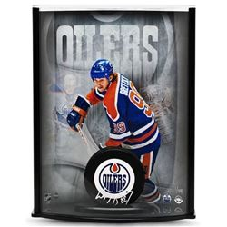 Wayne Gretzky Signed Oilers LE 8x11x3 Custom Framed Hockey Puck Curve Display (UDA COA)