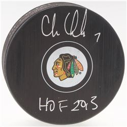 "Chris Chelios Signed Blackhawks Logo Hockey Puck Inscribed ""HOF 2013"" (Beckett COA)"