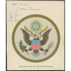 """Neil Armstrong Signed 6.5x8 United States Seal Print Inscribed """"Best Wished"""" (JSA LOA)"""