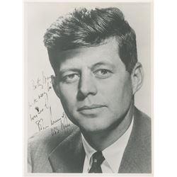 """John F. Kennedy Signed 7.5x10 Photo Inscribed """"With Very Best Wishes""""  """"USS Mass"""" (JSA LOA)"""