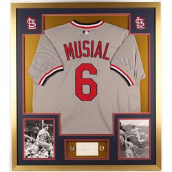 Stan Musial Signed Cardinals 34x38 Custom Framed Cut Display with Replica Championship Rings (JSA CO