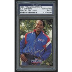 1991 Pro Line Portraits Autographs #234 O.J. Simpson (PSA Authentic)